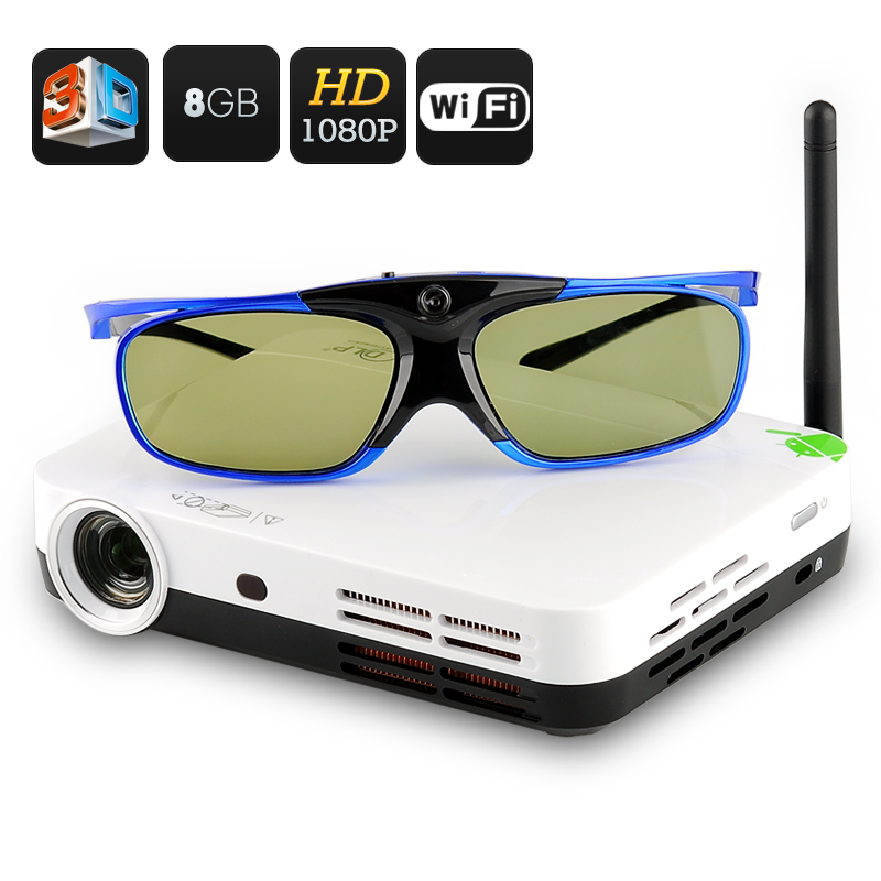 3D LED Projector - DLP Technology, Android 4.2 OS, Quad Core CPU, 8GB Internal Memory, LED Projector, Wi-Fi Support, 3D Glasses