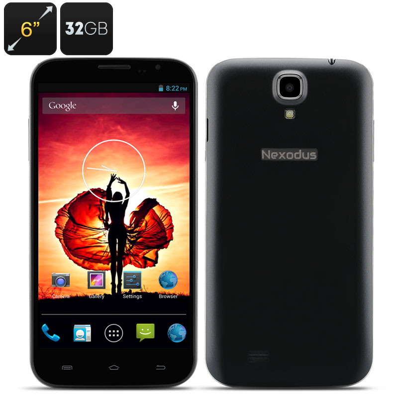 Nexodus Zen Smartphone - 6 Inch HD 1280x720 Screen, MTK6589T Quad Core CPU, 2GB RAM, 32GB Internal Memory (Black)
