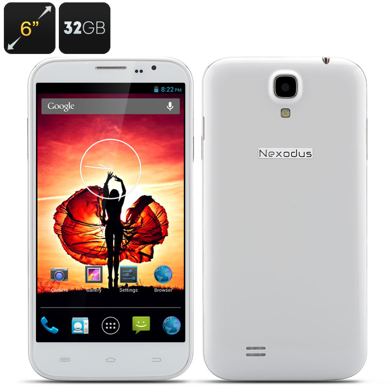 Nexodus Zen Smartphone - 6 inch HD 1280x720 Capacitive Screen, MTK6589T Quad core CPU, 2GB RAM, 32GB Memory, Android 4.2 (White)