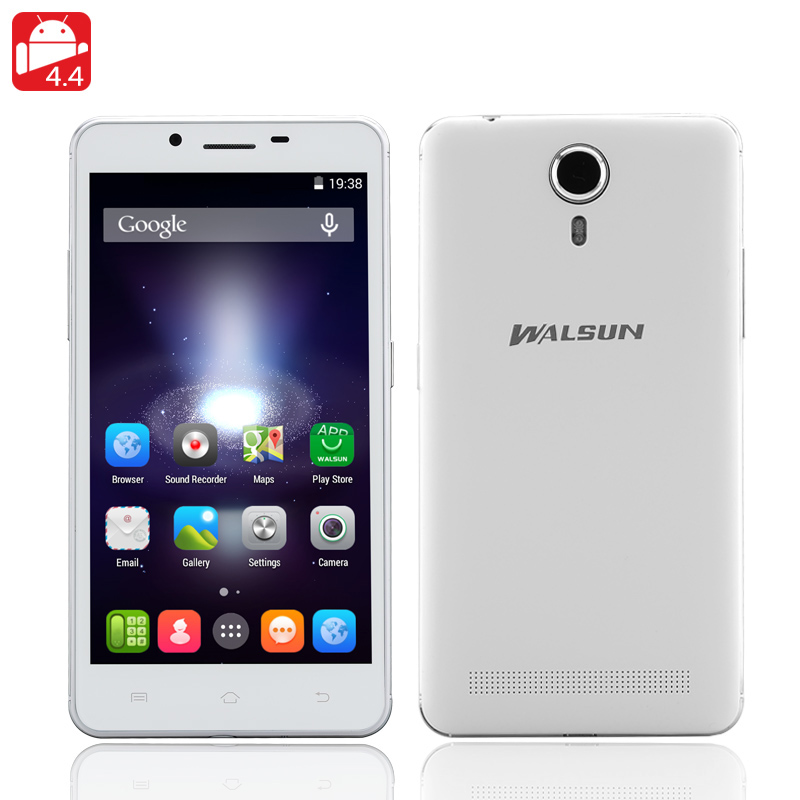 Walsun X1 5 Inch Smarphone - Wake Gesturing, Dual Sim, MTK6582 Quad Core 1.3GHz, 1GB RAM, 8GB Internal Memory (White)