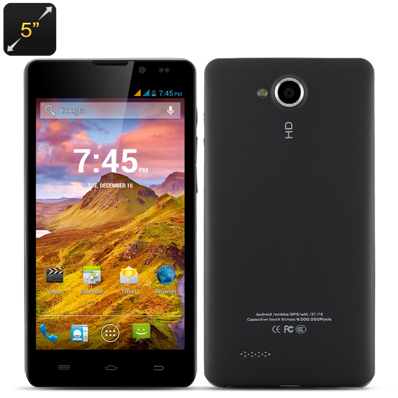 HD Quad Core Smartphone 'Bruxton' - 5 Inch HD 1280x720 Capacitive Screen, MTK6589 CPU, 1GB RAM, 4GB Internal Memory, Android 4.2