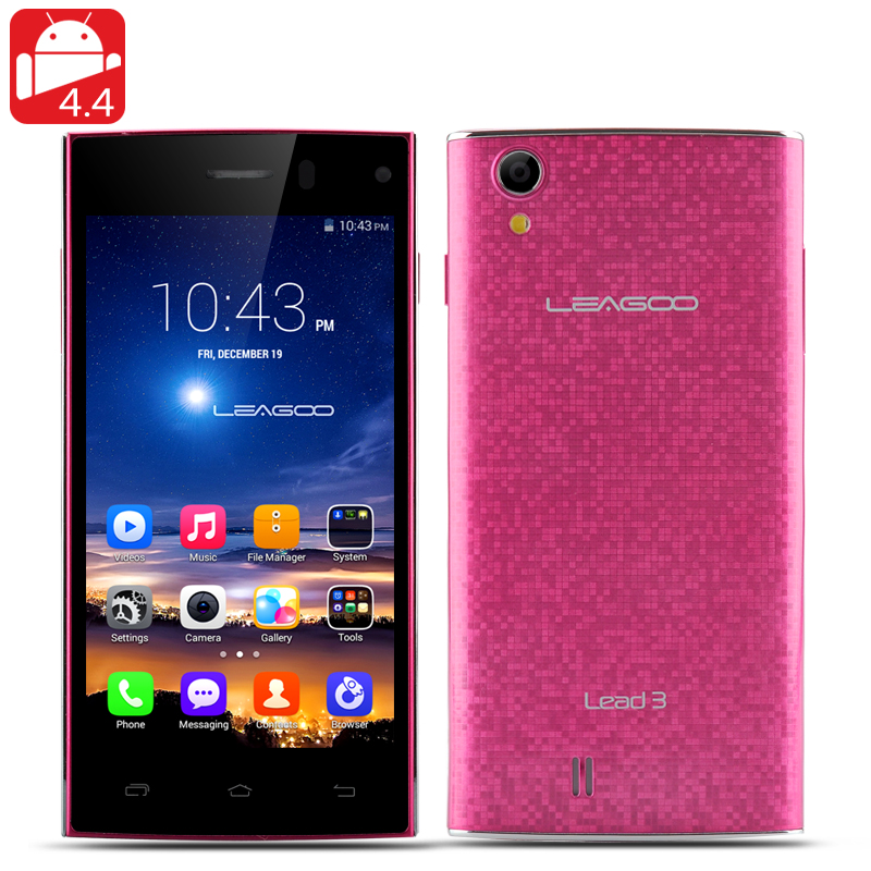 LEAGOO Lead 3 Smartphone - 4.5 Inch QHD IPS Screen, MTK6582 Quad Core CPU, Android 4.4 (Red)
