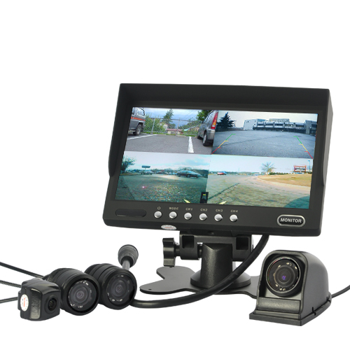 4 Camera Car Rearview/Frontal Monitoring System - 7 Inch Monitor, Waterproof Cameras, Nightvision