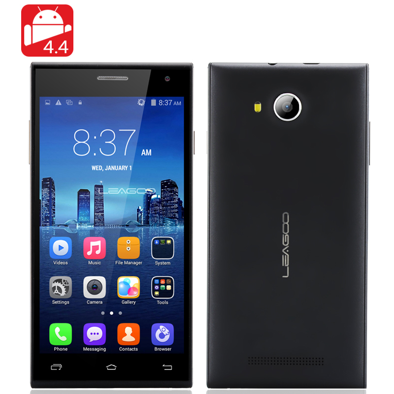 LEAGOO Lead 5 Android 4.4 Smartphone - 5 Inch 854X480 IPS Screen, MTK6582 Quad Core 1.3GHz CPU, Bluetooth (Black)