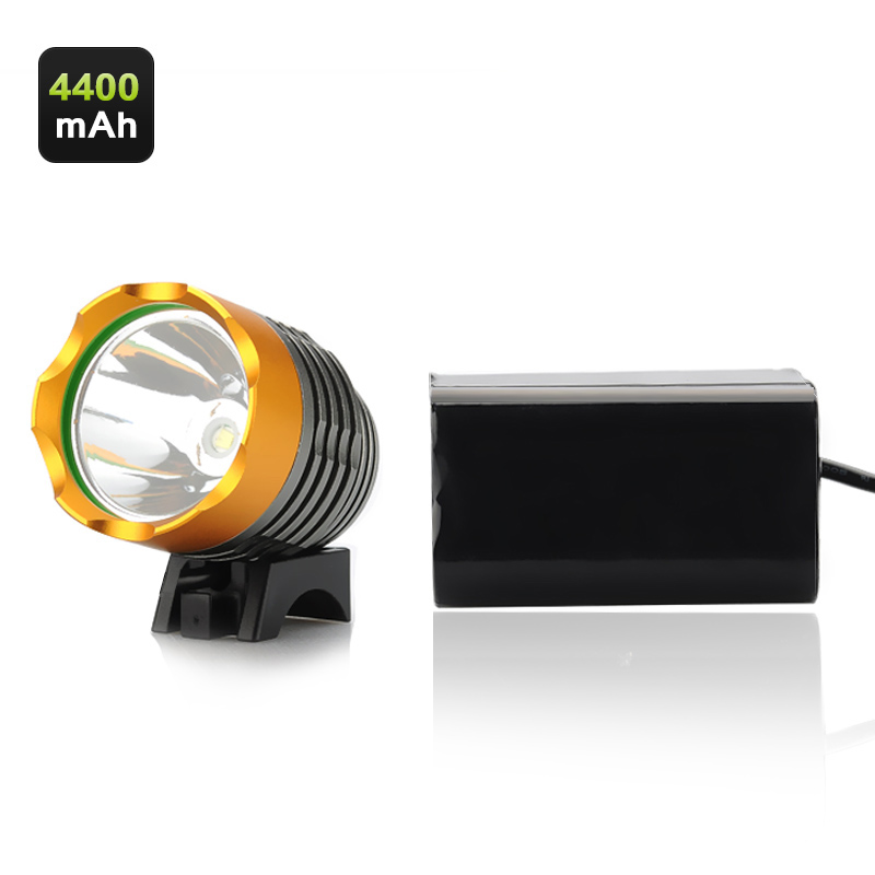 LED Bicycle Headlamp Kit - Cree T6 LEDs, 1200 Lumens (Max), 3x Modes, 4400mAh Battery, Bicycle + Headlamp Fixtures