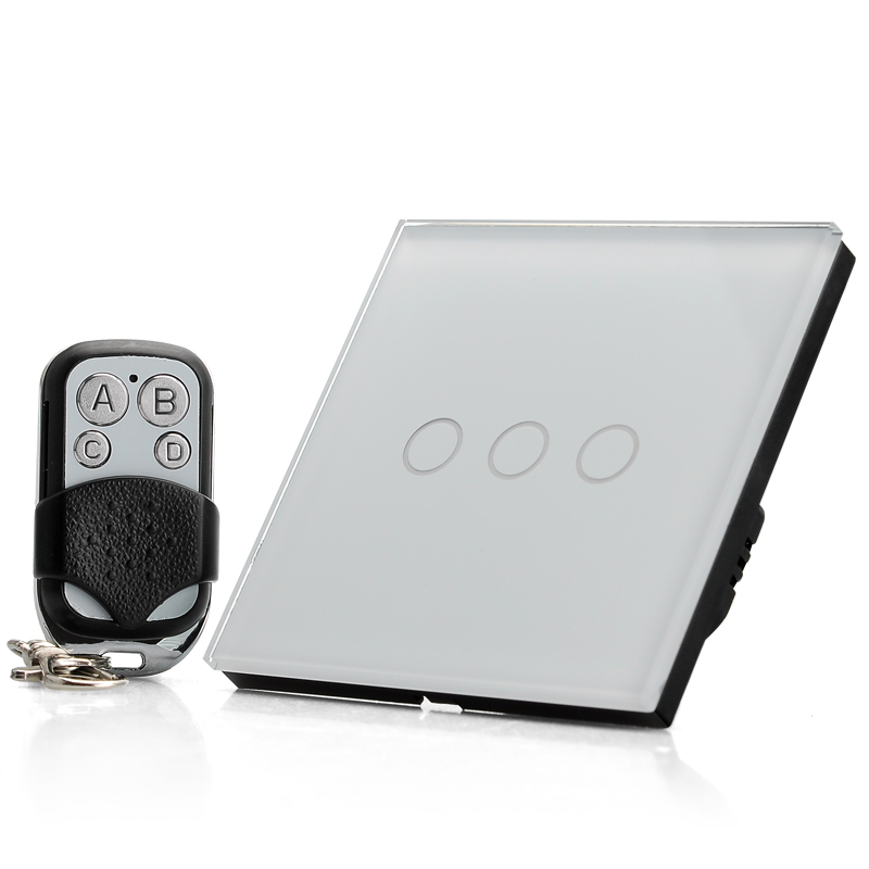 Crystal Glass Touch Sensitive Light Switch - 3 Gang, LED Indicator, Mini Remote Control, Maximum 2000W Load