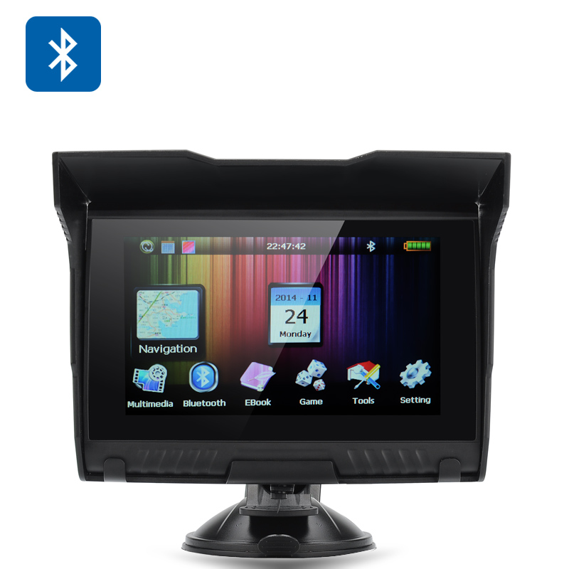 5 Inch Motorcycle GPS Navigator - IPX5 Waterproof Design, Bluetooth, 4GB Internal Memory