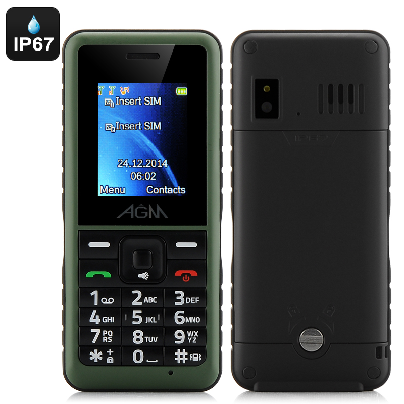 AGM Stone 2 Bar Phone - IP67 Rating, Quad Band Support, Dual SIM, Micro SD Card Slot, Bluetooth Support (Green)