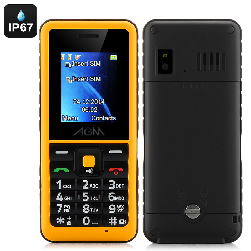 AGM Stone 2 Feature Phone - IP67 Waterproof Rating, Quad-Band, Bluetooth, FM Radio, Micro SD Card Slot (Yellow