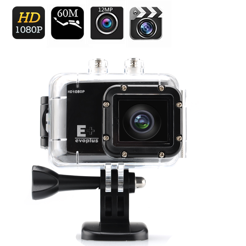 Evoplus E+ Full HD Sport Camera - 1080p 30 FPS, 170 Degree Angle Lens, Wrist Strap Remote Control, Waterproof up to 30 Meters