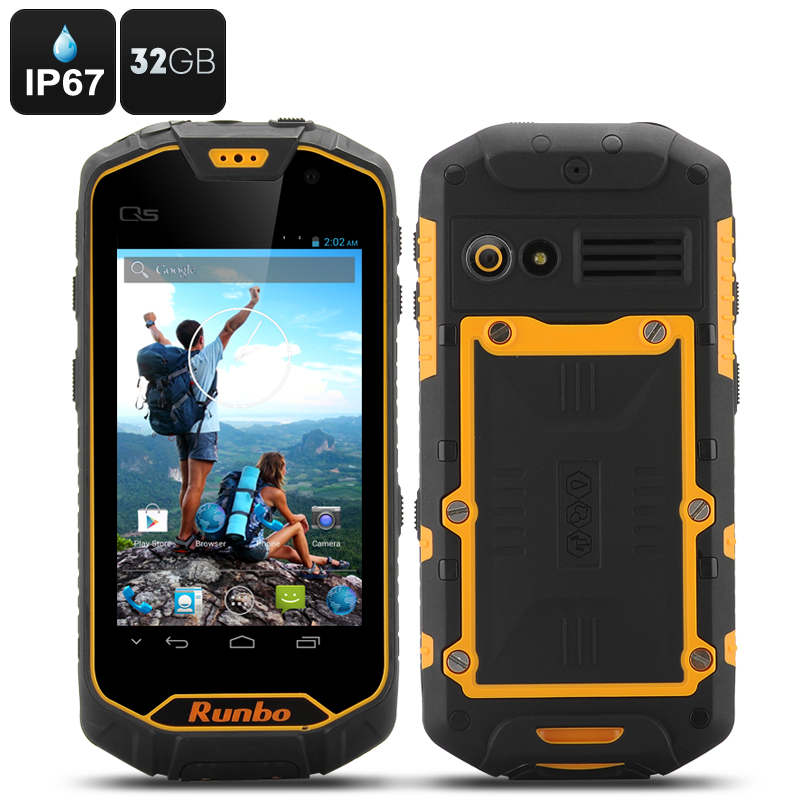 Runbo Q5 Rugged Smartphone - 32GB Internal Memory, IP67 Waterproof Rating, MTK6589T Quad Core CPU, Gorilla Glass (Yellow)