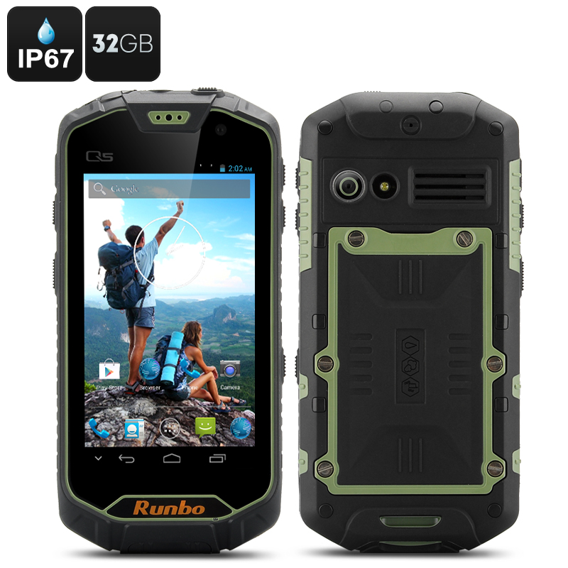 Runbo Q5 Rugged Smartphone 32GB - IP67, 32GB Memory, Quad Core CPU, 2GB RAM, Walkie Talkie, Gorilla Glass (Green)