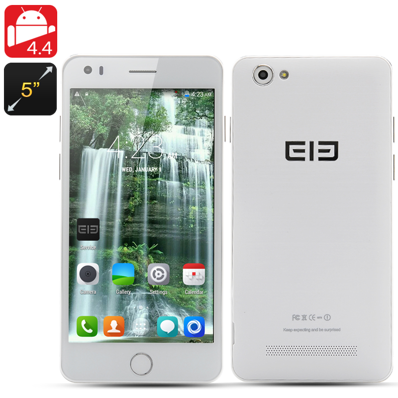 Elephone P6i Cell Phone - Android 4.4, 5 Inch QHD 960x540 IPS Screen, MT6582 Quad-Core 1.3GHz, 1GB RAM+4GB Memory, (White)