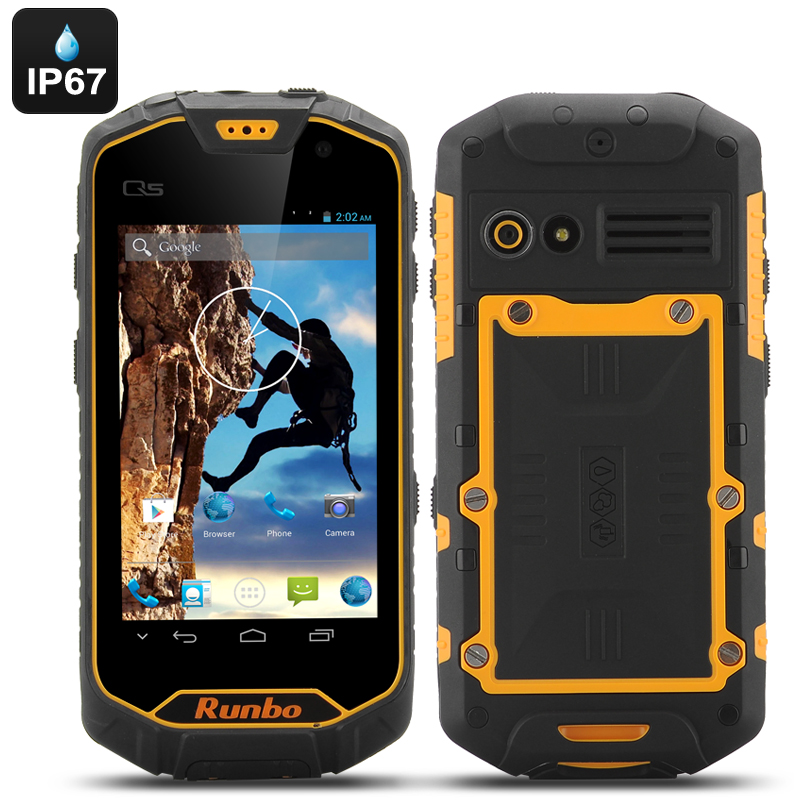 Runbo Q5 S Android Rugged Smartphone - IP67, Quad Core CPU, 1GB RAM, 8GB of Memory, Walkie Talkie, Gorilla Glass (Yellow)