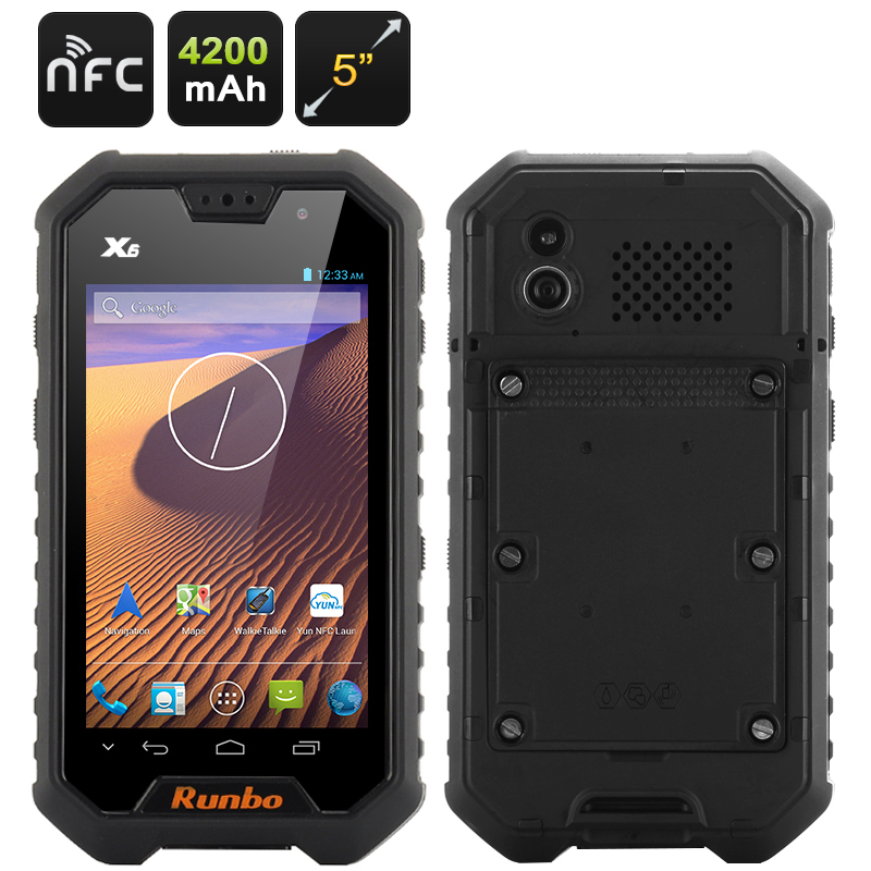 Runbo X6 Rugged Smartphone - 5 Inch Display, Quad Core 1.5GHz CPU, Android 4.2 OS, Walkie Talkie, Gorilla Glass II (Black)