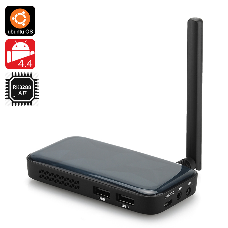 Ugoos UM3 TV Box - Android 4.4 + Ubuntu OS, RK3288 28nm Cortex-A17 Quad Core CPU, 2GB RAM, 8GB Internal Memory