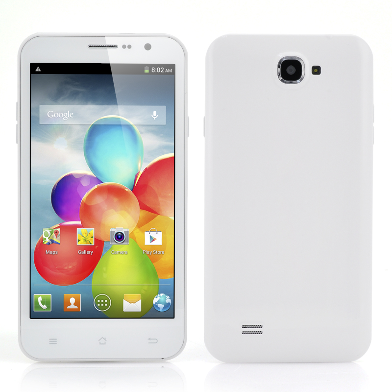 Quad Core Android 3G Mobile Phone - 5.3 Inch Display, MTK6589 1.2GHz CPU, 8 Megapixel Camera (White)