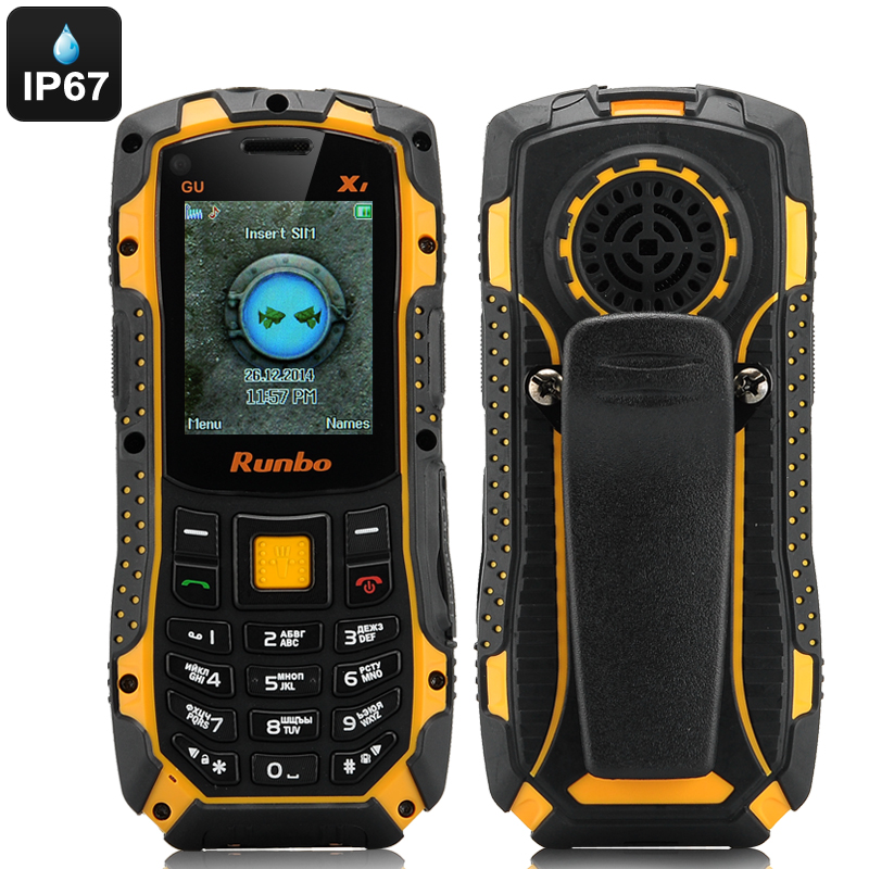 Runbo X1 Rugged Bar Phone - IP67, Quad Band GSM, Walkie Talkie, 2 Inch Screen, Bluetooth, Torch, Camera, 4GB Memory