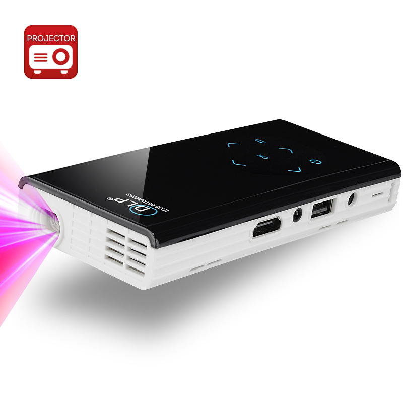 E06S Mini DLP Projector - 120 Lumens, Android 4.2 OS, Dual Core CPU, 1GB RAM, Wi-Fi Function, 1080p Support, DLNA (White)