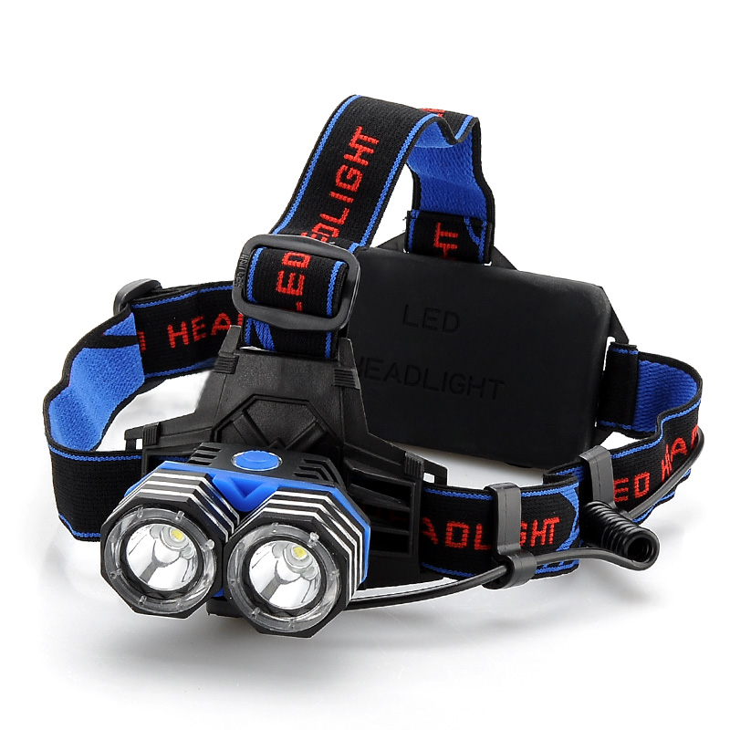 CREE XM-L 2x T6 LED Headlamp - 1600 Lumens, 4 Modes, USB Output