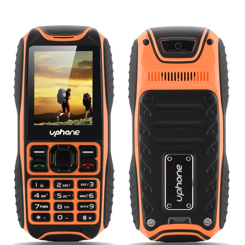 Uphone U3A Rugged Phone - IP67 Waterproof + Dust Proof Rating, Shockproof, MP3/MP4 Player, Bluetooth (Orange)