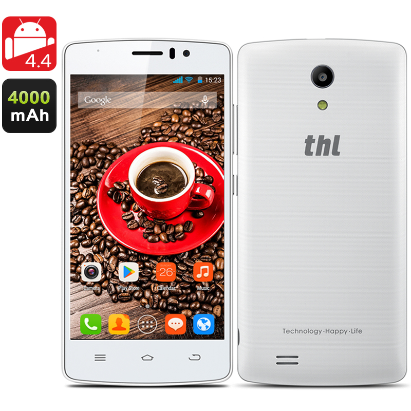 THL 4000 Quad Core Phone - Quad Core 1.3 GHz, Android 4.4, 4.7 Inch QHD IPS Screen, Dual SIM, Smart Wake, OTG, 3G (white)