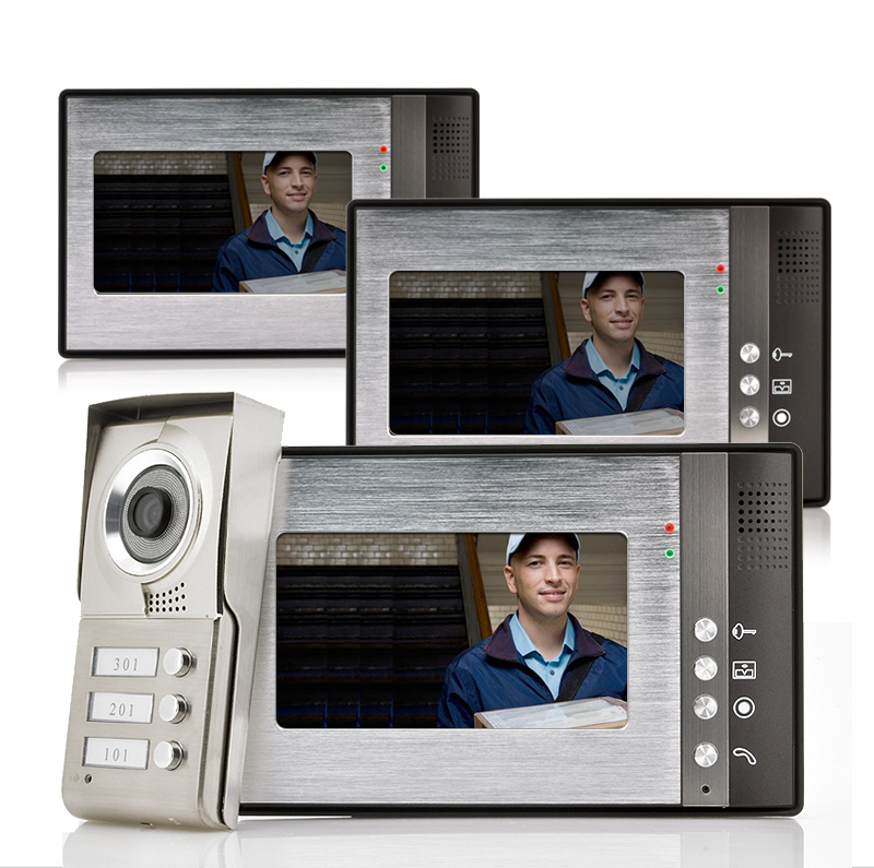 Video Door Phone 'Triga' - 3 Monitors for 3 Separate Households, Night Vision