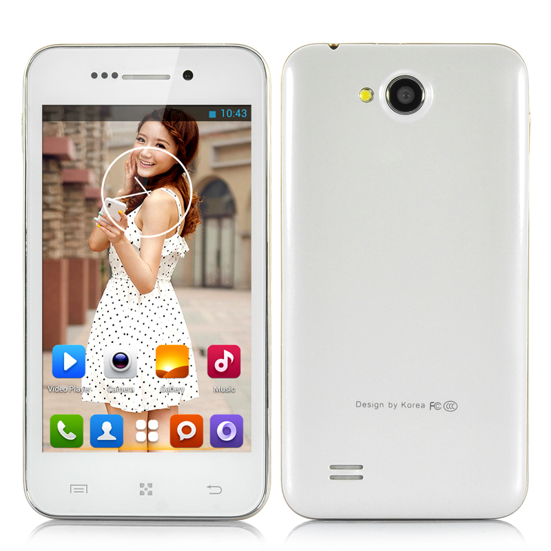 4 Inch Dual Core Android 4.2 Phone - MTK6572 1GHz CPU, 512MB RAM, 4GB ROM, 2x Cameras (White)