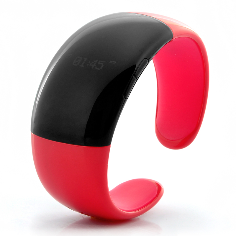 Bluetooth Bracelet with Call Answer/Talk - Time Display, Vibration, Caller ID, Red