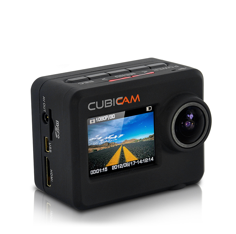 Waterproof 1080p HD Sports Camera 'Cubicam' - 5MP, Body Strap + Multi Mount Accessory Kit
