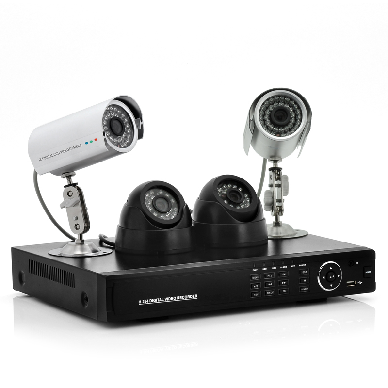 4 Channel DVR System 'Secure View' - 2 Indoor + 2 Outdoor Cameras, 700TVL, 500GB HDD, H.264