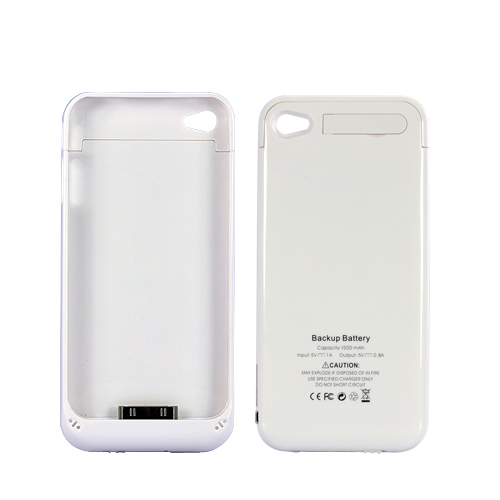 Slim Battery Case for iPhone 4 / 4S - 1500mAh (White)