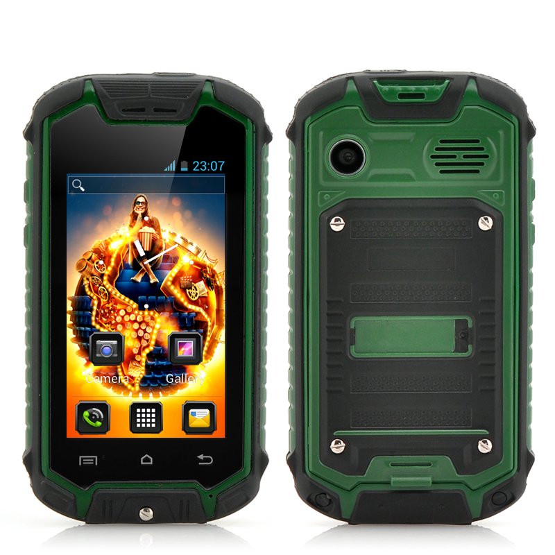 2.4 Inch Small Rugged Smartphone with 2MP Rear Camera - Android 4.2 OS, Earphones, Water Resistant (Green)