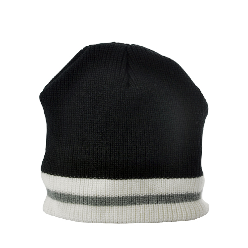 Beanie Hat - Built-in Headphones (Black with White/Grey Stripe)