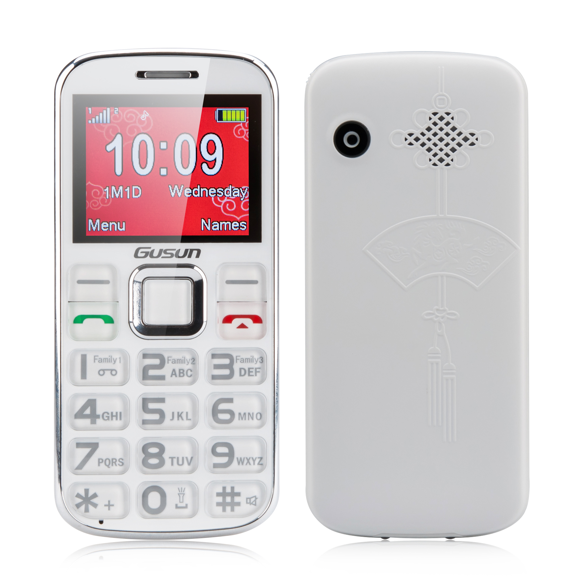 Gusun F10 Dual SIM Quad Band Senior Citizen Phone - 2 Inch Display, FM Radio, LED Torch (White)