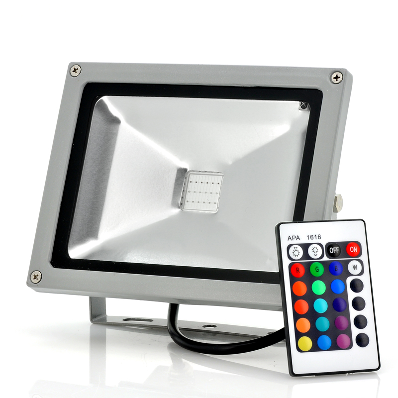 LED Flood Light with Remote Control - 20W, 1800 Lumens, Waterproof, Color Changing, Multiple Modes