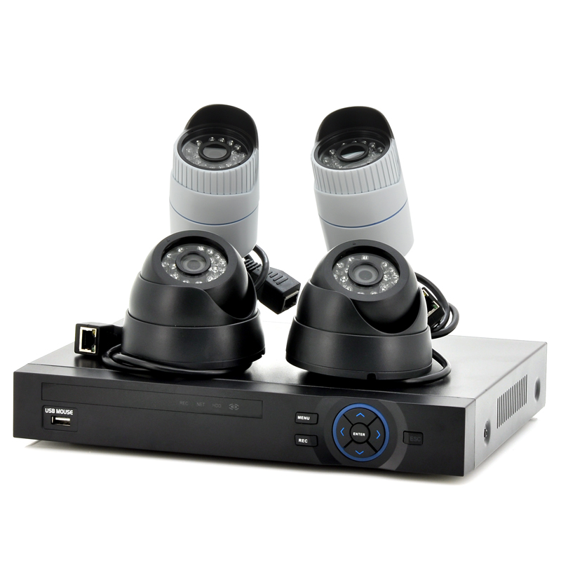 4 Channel NVR Kit - 2x Outdoor + 2x Indoor 720P Cameras, PoE Support, 1/4 Inch CMOS