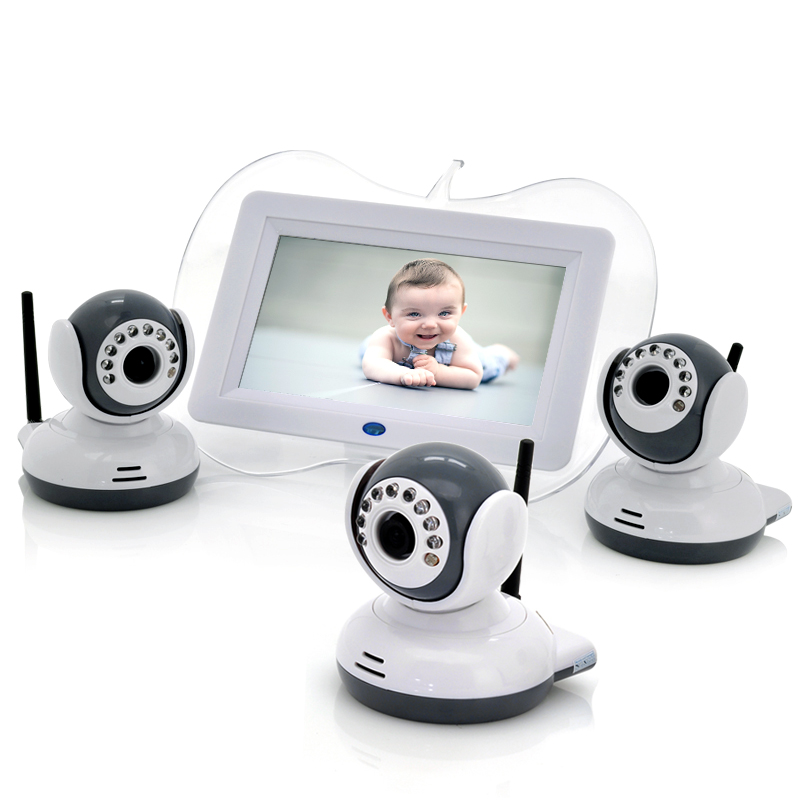 Digital Wireless Baby Monitor + 3x Cameras - 7 Inch Display, 1/4 CMOS, Night Vision
