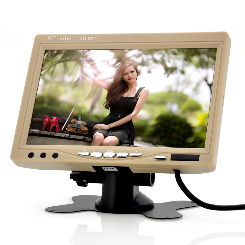 7 Inch Car Headrest Monitor - 800x480, 130 Degrees Viewing Angle (Tan)
