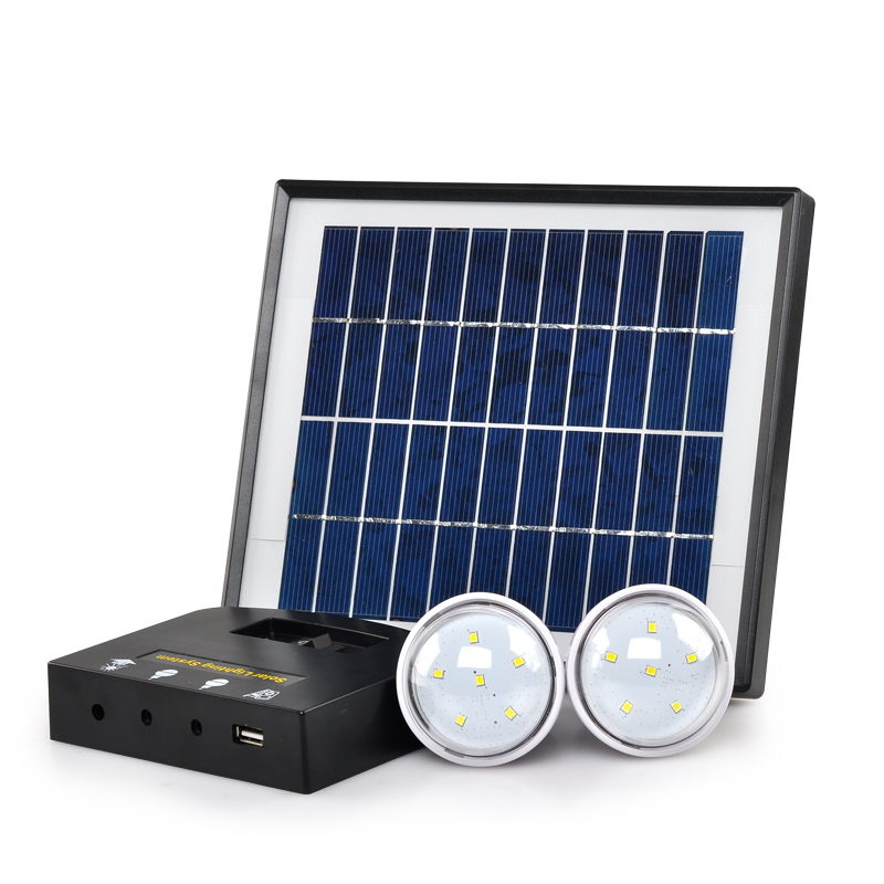 Portable Solar Power Kit - 2x LEDs, 4W, 2600mAH Lithium Ion Battery, Multiple Applications