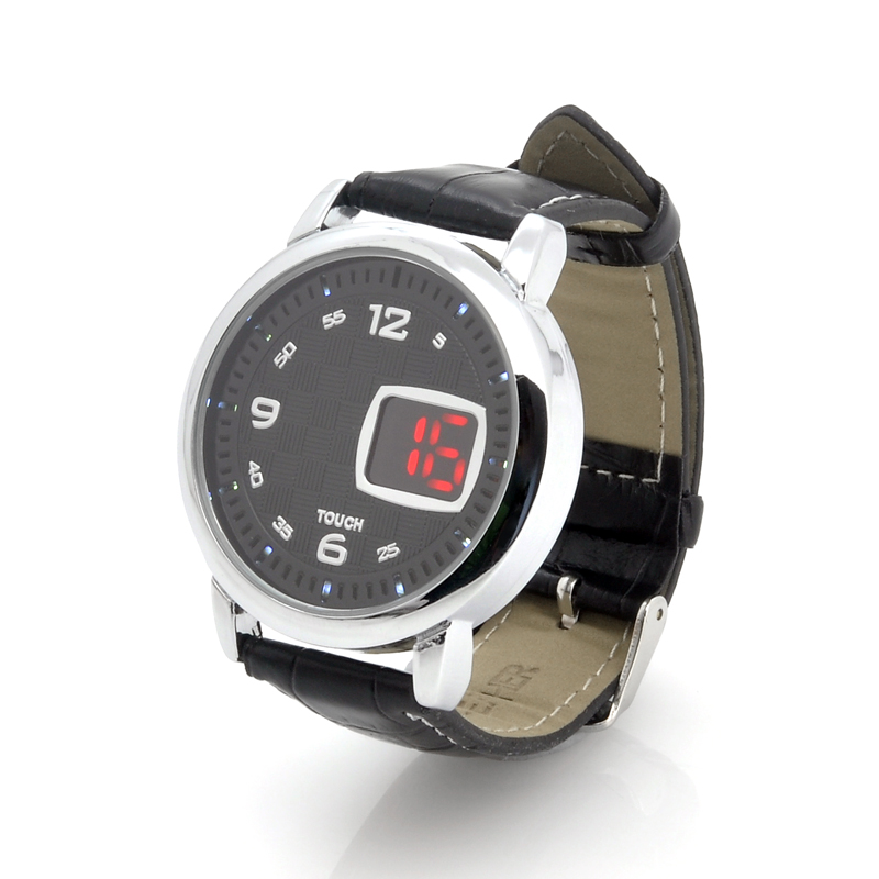 LED Touch Watch 'Checkers' - Leather Strap, LED Time Display (Black)