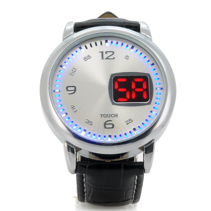 LED Touch Watch 'Chess' - Leather Strap, LED Time Display (White)