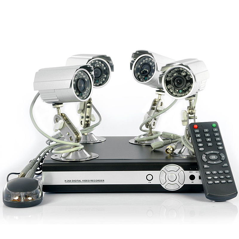 4 Camera Surveillance Kit 'SecureView' - 4 Outdoor Cameras, 4CH DVR, SATA Hard Drive Support