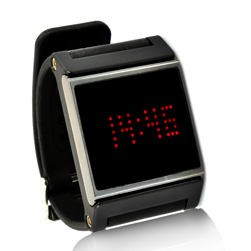 Red LED Wrist Watch - Black Strap, Touch Screen, Time + Date