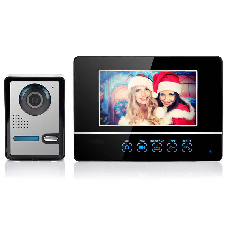 Wireless Video Door Phone- 2.4 GHz, 7 Inch Screen, Touch Button, 250 Meter Distance
