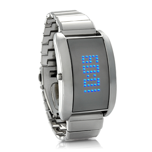 Metal Alloy LED Watch with Scrolling Text 'Blue Fiction'