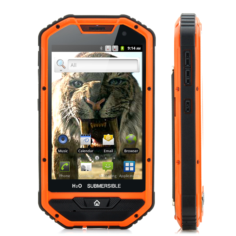 4 Inch Rugged Android Phone 'Sabre-Tooth II' - 1GHz Processor, Dustproof, IP 53 Water Resistant, Shockproof (Orange)