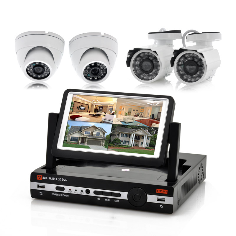 4 Channel DVR Kit 'Watch-Tower' - 7 Inch LCD Screen, 2x Outdoor Cameras, 2x Indoor Cameras, H.264