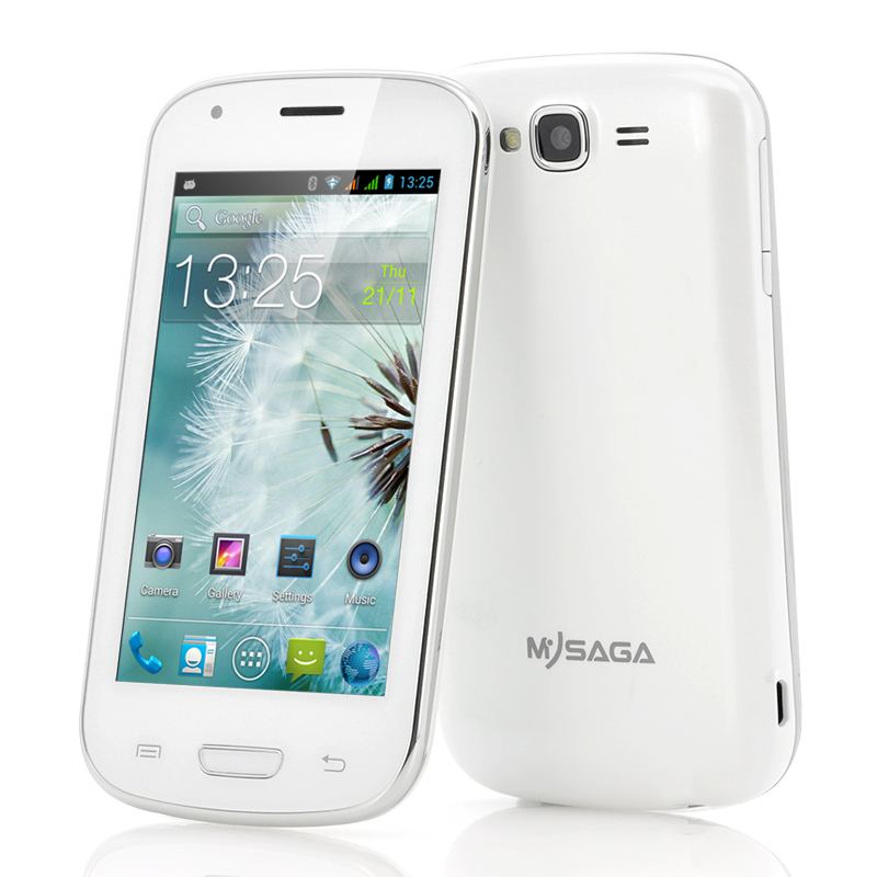 MySaga C3 Dual Core Android Phone - 4 Inch Screen, Bluetooth, GPS, Dual SIM Support (White)