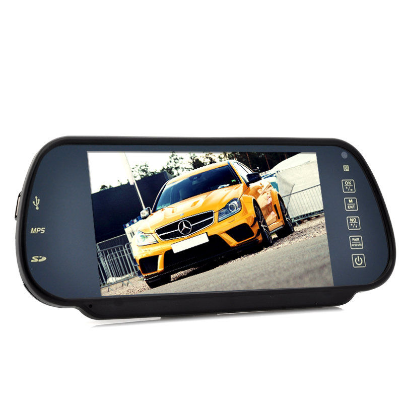 Rear View Mirror Monitor and Multimedia MP4 Player - 7 Inch, Handsfree, Bluetooth